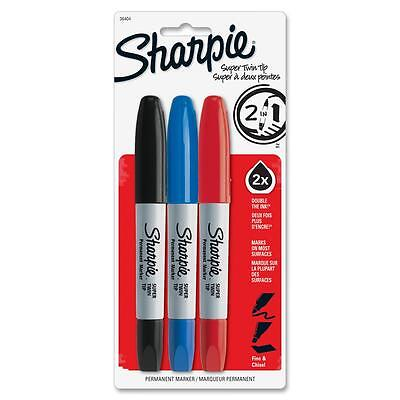 Sharpie Twin Tip Markers Permanent Finechisel Tip 3pk Asst. 36404pp