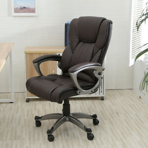 Brown PU Leather High Back fice Chair Executive Task Ergonomic puter Desk