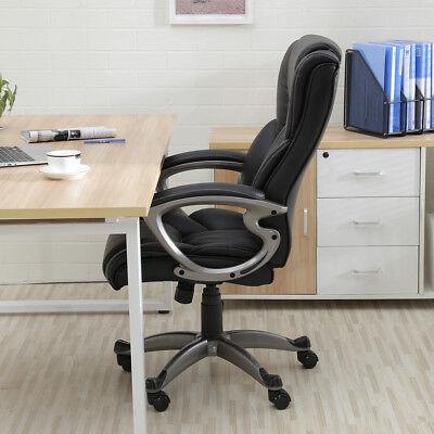 Black PU Leather High Back Office Chair Executive Task Ergonomic Computer Desk 2