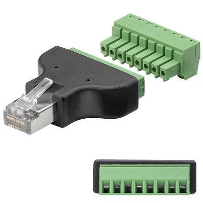 RJ45 Adapter Stecker 8-Pin Terminal Block Schraub Klemmen RJ45 Netzwerk Adapter