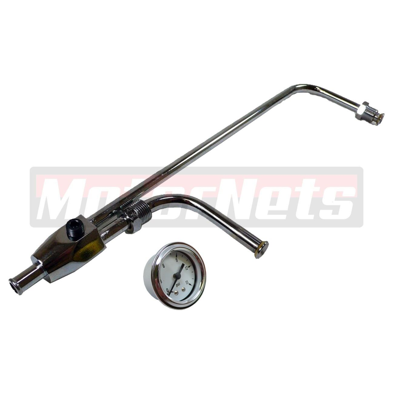 "Chrome 3//8/"" Fuel Line For Holley 3310 Series Carbs w// 1-1//2/"" 15 PSI Black Gauge"