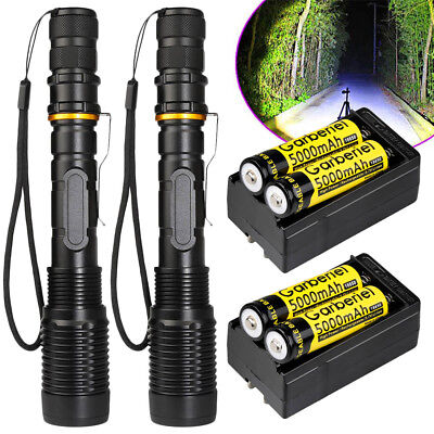 2Sets 80000 Lumens Ultrafire 5Modes SWAT 10W T6 LED Flashlight 18650+Charger USA