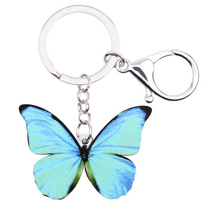 Acrylic Blue Morpho Menelaus Butterfly Keychain Ring Charm Bag Jewelry For Women