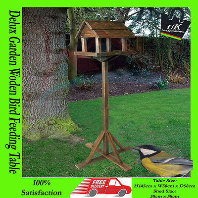 PREMIUM WOODEN BIRD TABLE DELUXE FEEDER FREE STANDING PORTABLE FEEDING STATION**