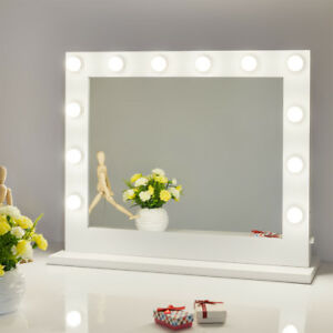 large vanity mirror with lights. White Hollywood Makeup Vanity Mirror with Light Stage Large Beauty  Dimmer Lights eBay