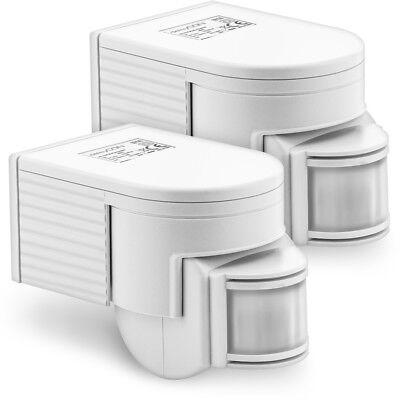 deleyCON 2x Infrarot Bewegungsmelder Aufputz 180° INNEN + AUSSEN bis 12m Sensor