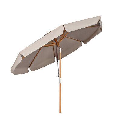 Sonnenschirm Holz Gartenschirm wasserdichte Marktschirm Sonnenschutz 3m Taupe