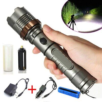 900000LM High Power Rechargeable Torch T6 LED Tactical Flashlight+18650Batt+Char High Power Tactical Flashlight