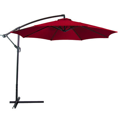 10' Hanging Umbrella Patio Sun Shade Offset UV Resistant Outdoor +Base, Burgundy