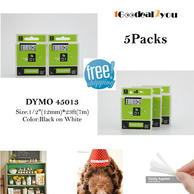 5 Pk Label Tape Compatible Dymo D1 45013 Label Maker 12mm Black On White