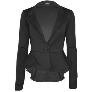 New Womens Plus Size Long Sleeve Waist Frill Button Blazer Peplum Jacket