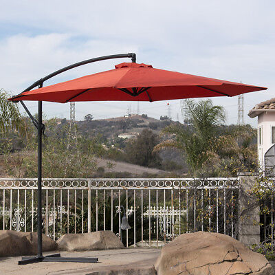 10' Hanging Umbrella Patio Terra Cotta UV Resistant Shade Offset Outdoor W/ Base