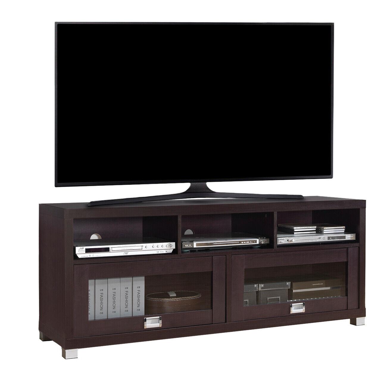 "TV Stand 65"" Flat Screen Entertainment Center Media Home Con"