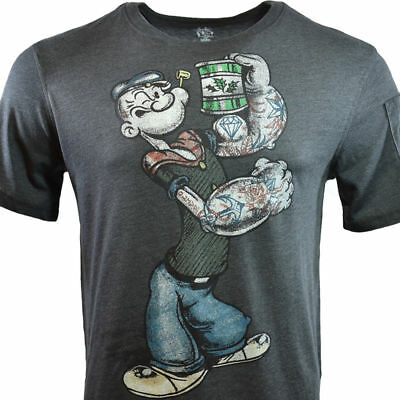 Popeye Mens T Shirt  Longer Length Style  The Sailor Man  Arm Pockets