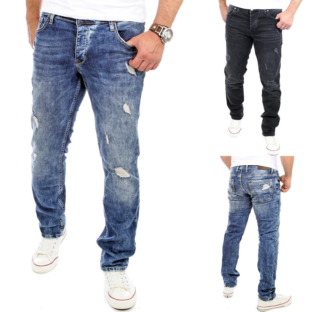 Reslad Jeans-Hose Herren-Hose Stretch Slim Fit Denim Blau /& Schwarz RS-2069