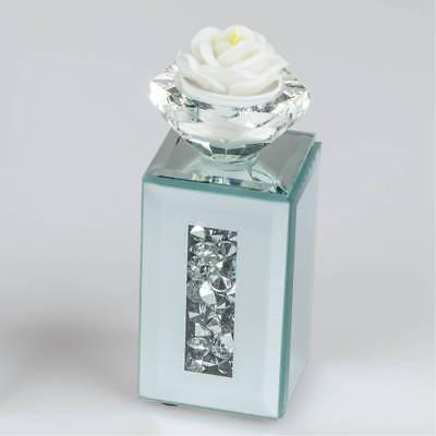 Teelichthalter STONES H. 13cm 6x6cm silber aus Spiegelglas mit Steinchen Formano ()