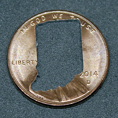 Lucky penny with Indiana cut out