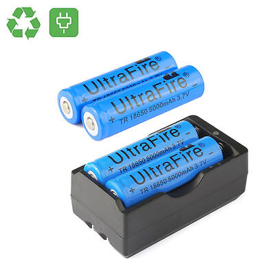 4 x ULTRAFIRE PRO 18650 Battery 3.7v Li-ion Rechargeable Battery + Dual Charger