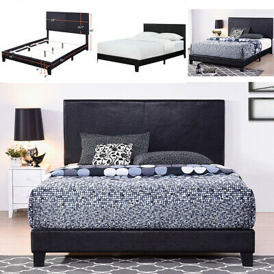 Faux Leather Platform Bed Frame With Upholstered Headboard Wooden slat Full Size