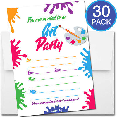 Paint Party Invitations (30 Art Party Invitations with Envelopes - Kid Birthday Party Boy Girl)
