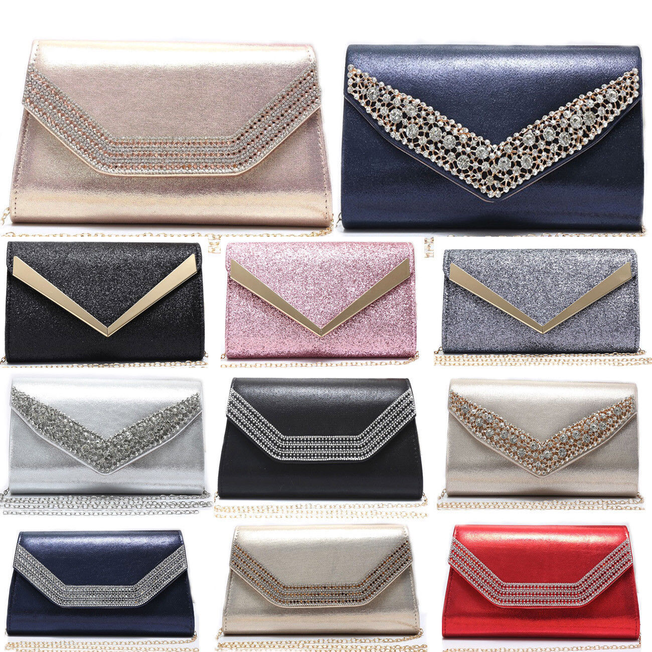 LeahWard Women's New Evening Diamante Party Clutch Bag For W