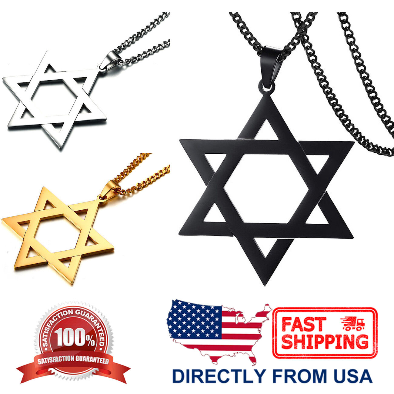 Men's Large Stainless Steel Star of David Pendant Necklace Chains, Necklaces & Pendants