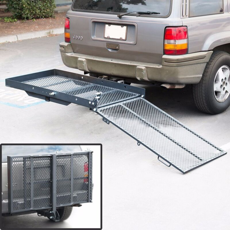 Folding Wheelchair Scooter Carrier Rack Disability Medical Rack Ramp Hitch
