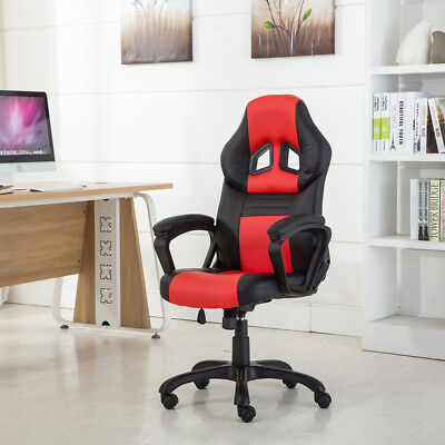 Tainted Back Race Car Style Bucket Seat Office Desk Chair Gaming Authority Red Black