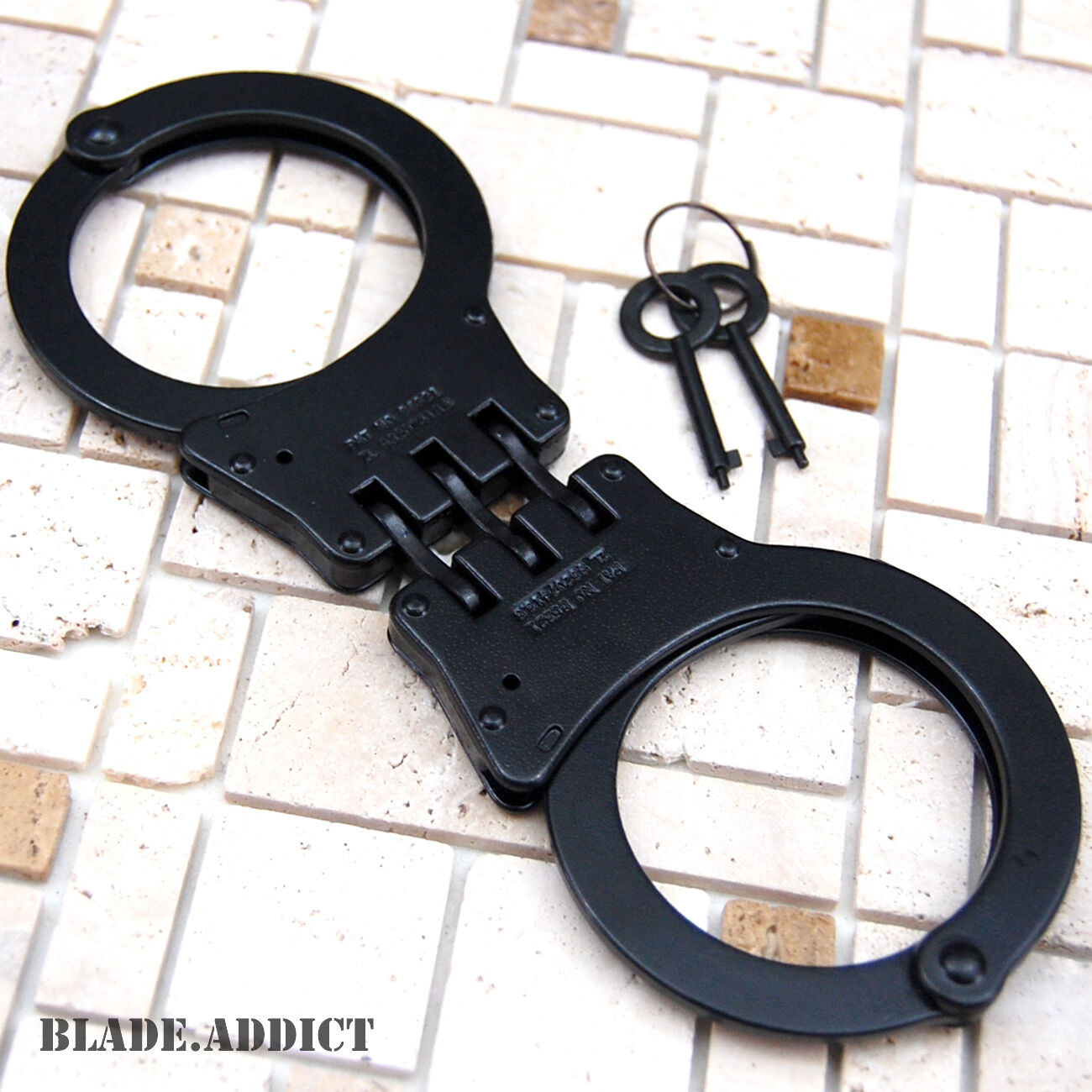 Professional Double Lock Black Steel Hinged Police Handcuffs w/ Keys Real EDC