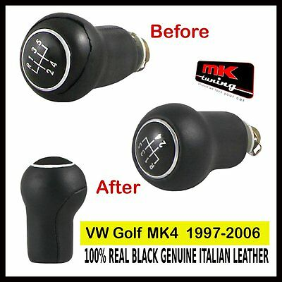 VW GOLF MK4 BLACK GENUINE LEATHER GEAR KNOB COVER ONLY