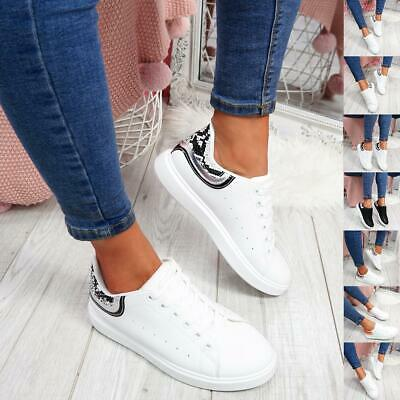 WOMENS LADIES LACE UP SLIP ON CASUAL TRAINERS PLIMSOLLS SNAKE WOMEN SHOES SIZE