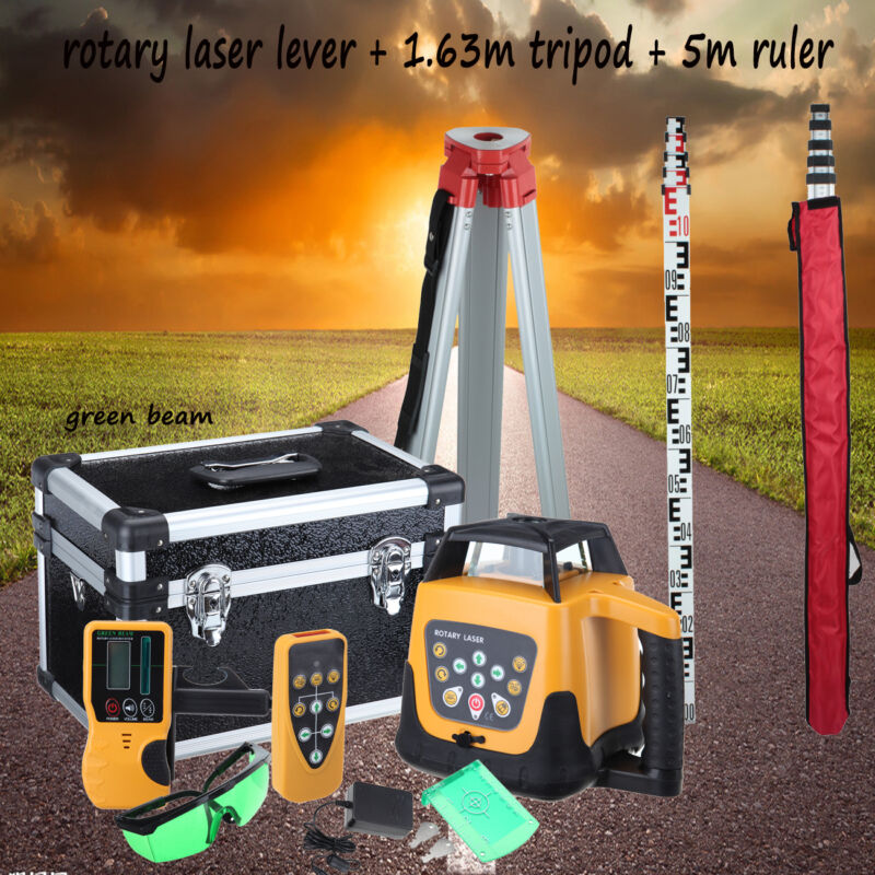 Ridgeyard Green Beam Self-Leveling Vertical Rotary Laser Level Staff Tripod 360