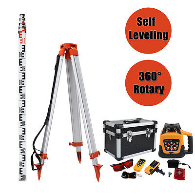 Self-leveling 500m Range Red Laser Beam Rotary Set With 1.65m Tripod 5m Staff