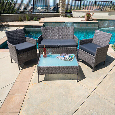 Garden Furniture - 4 PC Rattan Patio Furniture Set Garden Lawn Sofa Gray Wicker Cushioned Seat