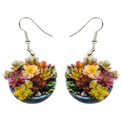 Acrylic Succulent Plant Bonsai Earring Dangle Hook Flower Jewelry For Women Gift