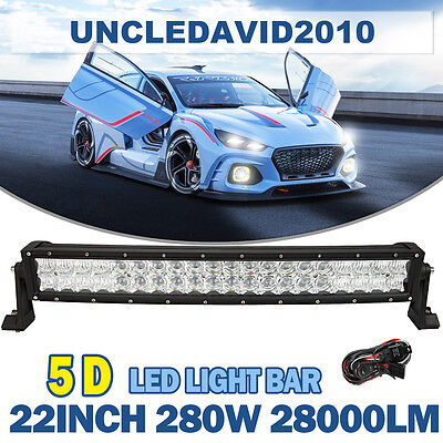 5D 22inch 280W CREE Curved Led Light Bar Spot Flood Offroad 4WD Truck ATV 20/24""