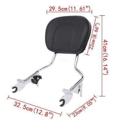 Detachable Backrest Sissy Bar W/Pad For Harley Touring FLHR FLHX FLHT FLTR 09-18