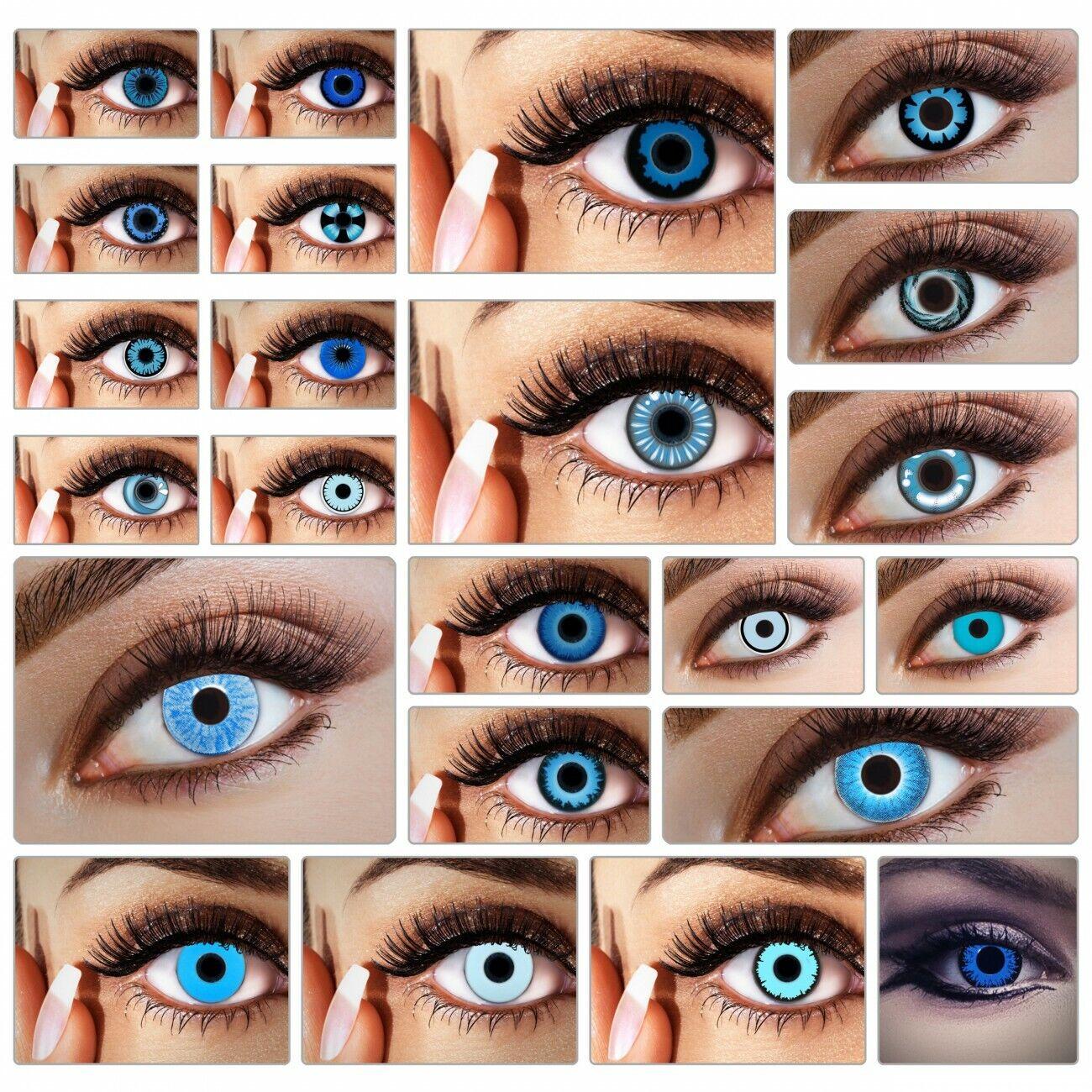 Blaue Kontaktlinsen farbige Funlinsen ohne Stärke Farblinsen Halloween Karneval