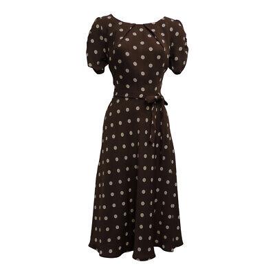 New Ladies Brown Polka Dot WWII 1930's 40's Vintage Style Wartime Tea Dress
