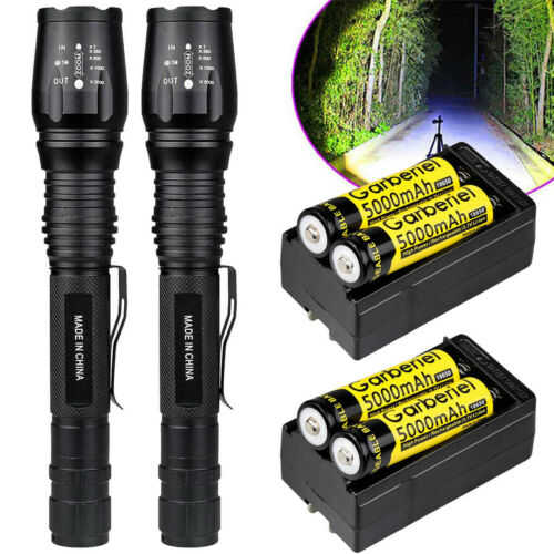 2 x Tactical 150000Lumens 5 Modes T6 LED Flashlight Torch +18650 Battery+Charger