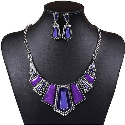 Women Geometric Tibet Bib Choker Necklace Earrings Set(Purple) LW