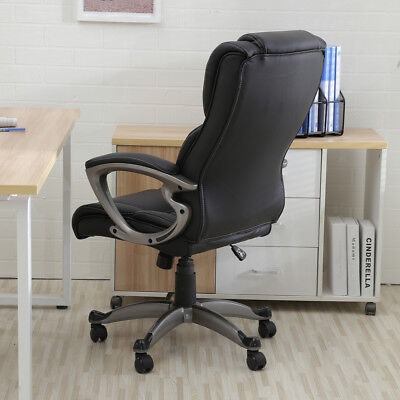 Black PU Leather High Back Office Chair Executive Task Ergonomic Computer Desk 3