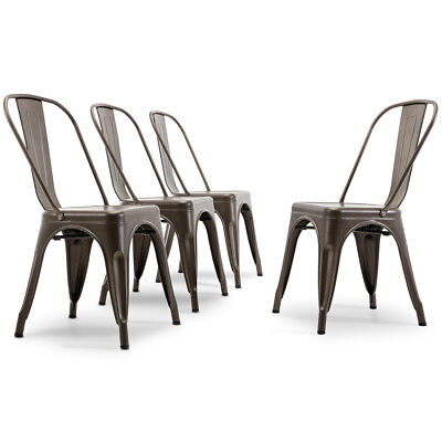 NEW Vintage Style Bistro Cafe Dining Chairs Stackable Chair Set of (4), Bronze