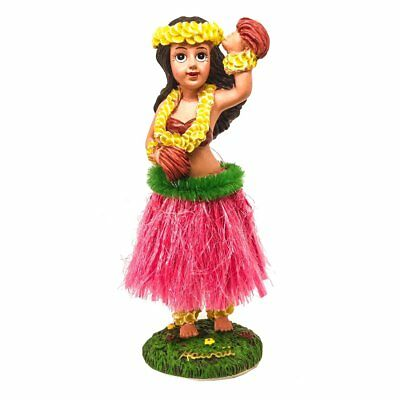 "Hawaiian Hula Girl with Flower Dashboard Doll 6.5"" (Red Skirt)"
