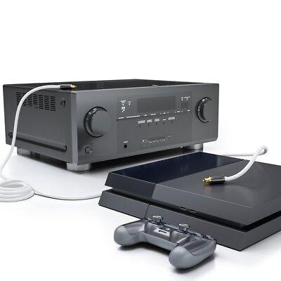Toslink HQ deleyCON 5m - Optisches Audiokabel mit Metallstecker 5mm - Weiß