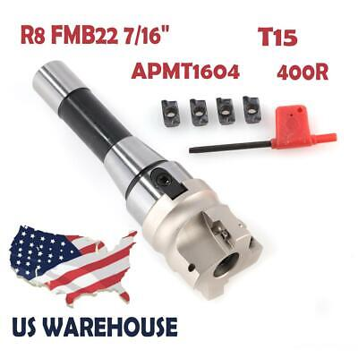 R8 Fmb22 Arbor 400r 50mm Face End Mill Shell Cutter 4x Apmt1604 Carbide Inserts