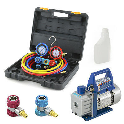 R134a Manifold Gauge With Carrying Case Vacuum Pump 3cfm 13hp Hvac Ac Kit