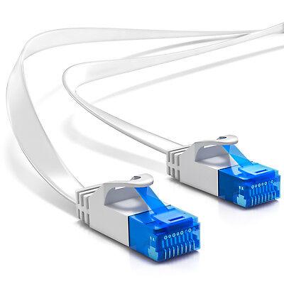 deleyCON 10m CAT6 flaches Patchkabel Flachkabel Netzwerkkabel LAN Kabel Weiß