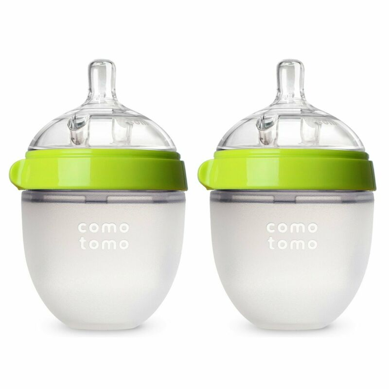 Comotomo Baby Bottle, Green, 5 Ounce (2 Count) Silicone BPA Free Natural