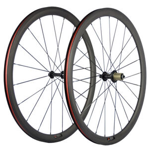 700C 38mm Clincher Carbon Wheelset Road Bike Wheels HandBuild USA In Stock R13